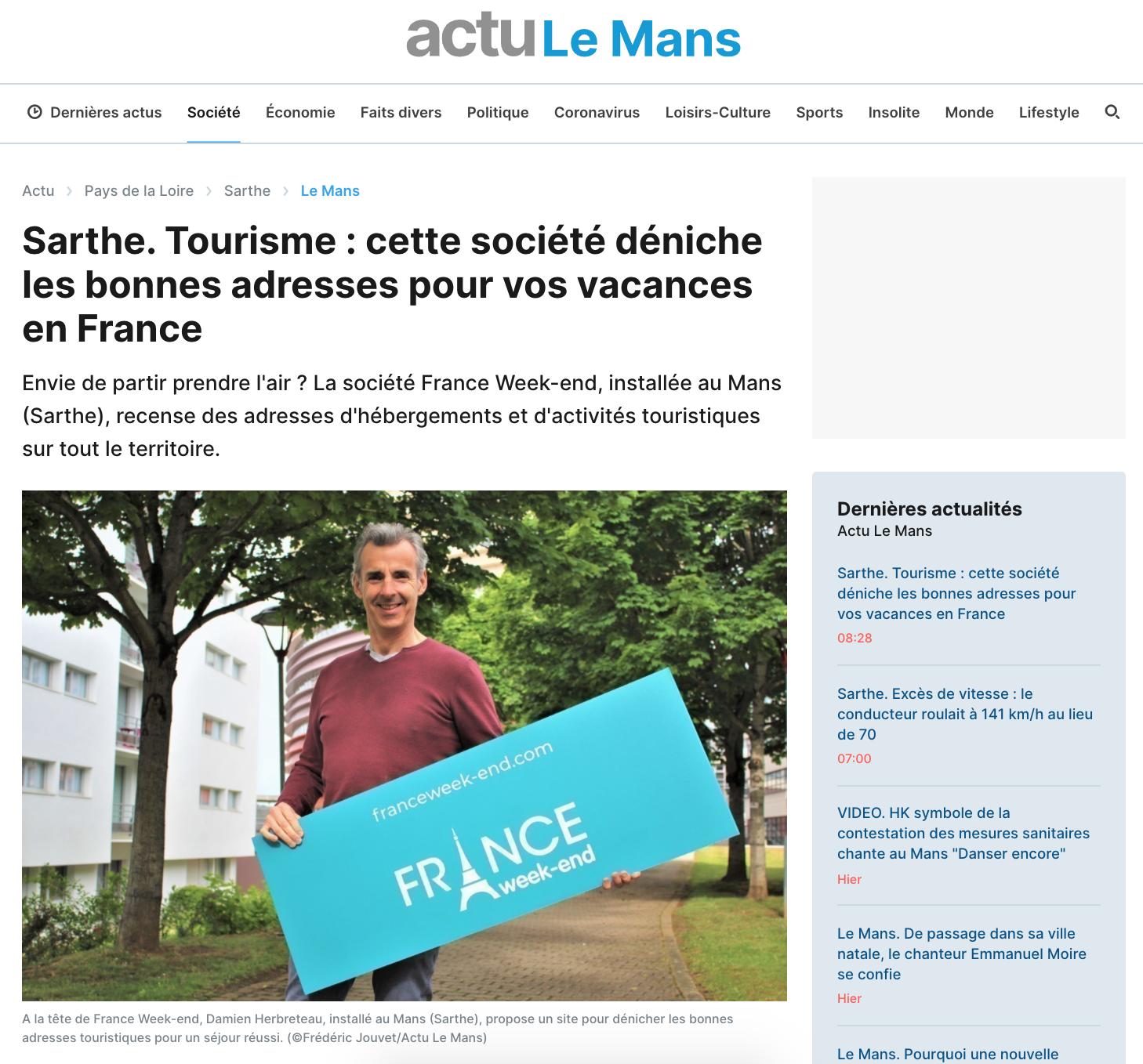 Article dans l'actu.fr de Damien Herbreteau directeur fondateur de France Week-end par Frédéric Jouvet